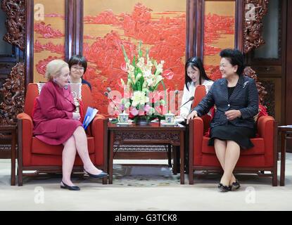 Beijing, China. 15th June, 2016. Chinese Vice Premier Liu Yandong meets with former U.S. Secretary of State Madeleine - Stock Photo