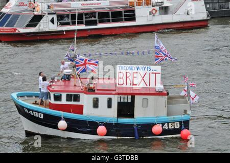 London, UK. 15th June, 2016. Brexit supporters gather on Westminster Bridge, London, UK for the arrival of UKIP - Stock Photo