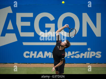 London, UK. 15th June, 2016. Gilles Simon of France serves the ball during his single's first round match against - Stock Photo