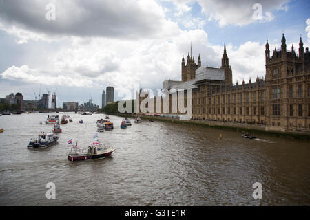 London, UK. 15th June, 2016. Flotilla of fishing vessels on the River Thames arrive outside the Houses of Parliament - Stock Photo