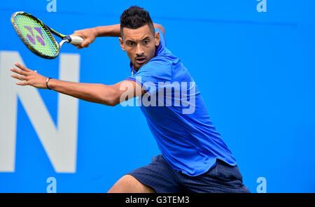 London, UK. 15th June, 2016. Aegon Tennis Championships Queens Club London UK Milos Raonic AUS v Nick Kyrgois AUS - Stock Photo