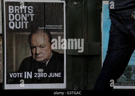 London, UK. 15th June, 2016. A 'Vote In: poster with a photograph of Sir Winston Churchill on Ladbroke Grove, London, - Stock Photo