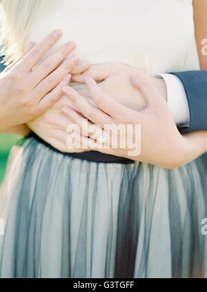 Sweden, Close- up of hands of newlyweds - Stock Photo