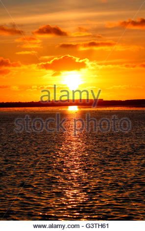 sunset at wangerooge, friesland district, lower saxony, germany, north sea - Stock Photo