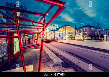 Finland, Helsinki, Cable car at night - Stock Photo