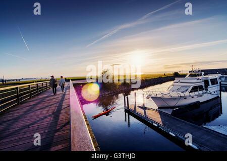 Sweden, Skane, Malmo, Ribersborg, Marina at sunset - Stock Photo