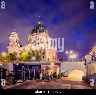 Germany, Berlin, Berliner Dom illuminated at night - Stock Photo