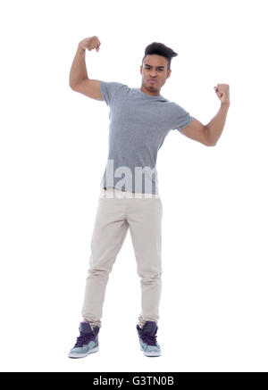 Portrait of a young african american man showing off his biceps. Isolated image on white background. - Stock Photo