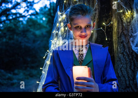 A boy dressed in costume for Halloween Night. - Stock Photo