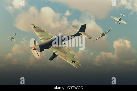 An RAF Hawker Hurricane Attacking  German Ju87 Stuka Dive Bombers. - Stock Photo