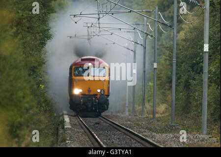 Virgin Trains Class 57 locomotive fitted with a Delner connector for Thunderbird operation, Old Dalby test track. - Stock Photo