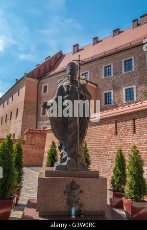 Statue of Pope John Paul in Krakow Poland - Stock Photo