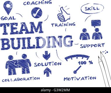 Team Building concept - chart with keywords and icons - Stock Photo