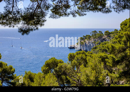Sailing boats and Yachts in Cassis Bay, France - Stock Photo