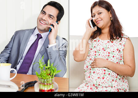 2 People Adult Man Adult Woman Caring Married Couples Mobile Phone Montage Pregnancy Smiling Talking - Stock Photo