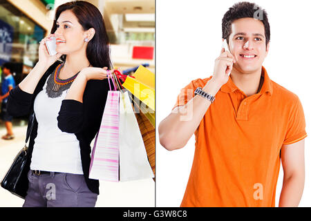 2 People Adult Man Adult Woman Communication Digitally Enhanced Gossip Mobile Phone Shopping and Retail Smiling - Stock Photo