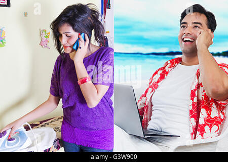 2 People Adult Man Adult Woman Digitally Enhanced Gossip Married Couples Mobile Phone Montage Smiling Talking - Stock Photo