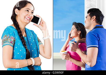 3 People Adult Man Adult Woman Communication Digitally Enhanced Mobile Phone Montage Sister Smiling Talking - Stock Photo