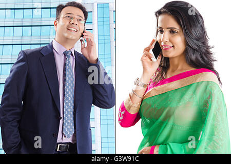 2 People Adult Man Adult Woman Businessman Digitally Enhanced Married Couples Mobile Phone Montage Smiling Talking - Stock Photo