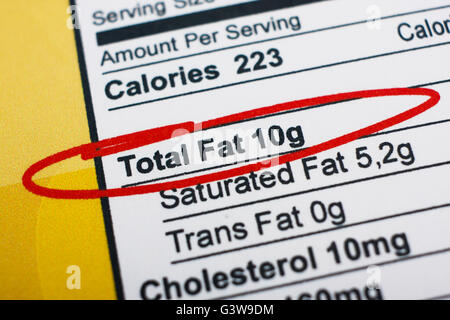 Photo of a nutrition facts label. High amount fat in food - Stock Photo