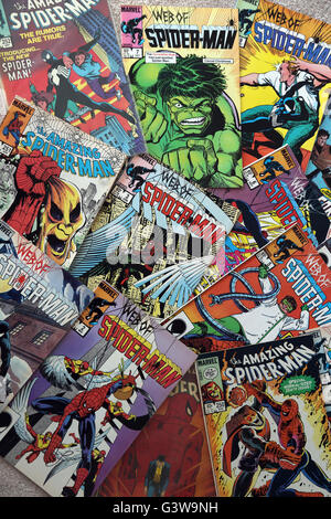 Collection Of Vintage Marvel Comic Books The Amazing Spider-Man And The Web Of Spider-Man - Stock Photo