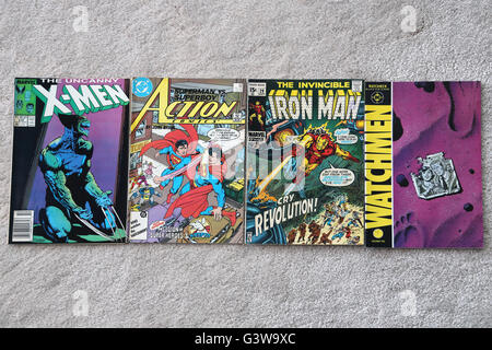 Collection Of Vintage Marvel And DC Comic Books The Uncanny X-Men, Action Comics Superman, The Invincible Iron Man - Stock Photo