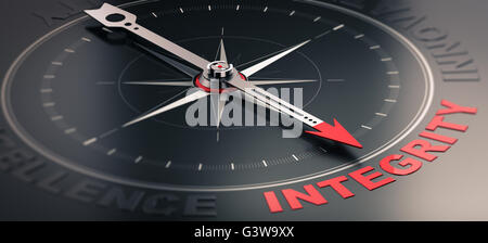 3D illustration of a compass over black background with needle pointing the word integrity. Concept image of company - Stock Photo