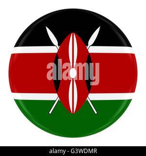 Kenyan Flag Badge - Flag of Kenya Button Isolated on White - Stock Photo