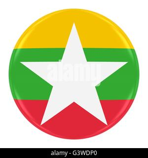 Burmese Flag Badge - Flag of Myanmar (Burma) Button Isolated on White - Stock Photo