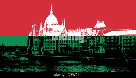 Black and white silhouette of Hungarian parliament - Orszaghaz in Budapest filled with national colors. Vector graphic. - Stock Photo