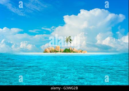 Dream Island. Beautiful small island in the tropical sea - Stock Photo
