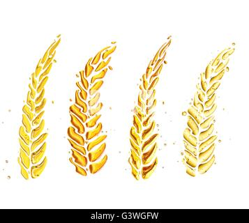 wheat made of liquide isolated on a white bacground. - Stock Photo