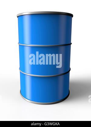 Blue oil drum isolated on a white background - Stock Photo