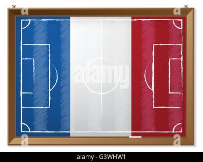 Soccer field drawing with french flag in background - Stock Photo