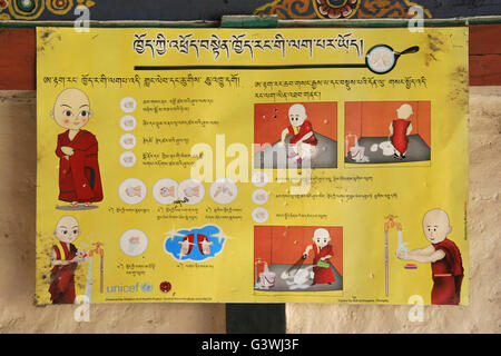 Information panel about hygiene intended for the monks in the Tamshing Lhakhang in Jakar (Bhutan). - Stock Photo