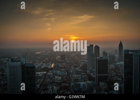 Sunset view of Frankfurt city in Germany - Stock Photo