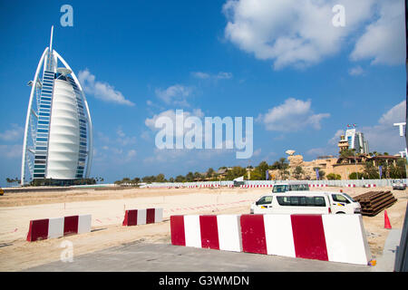 DUBAI, UAE - JANUARY 16, 2014: Burj Al Arab hotel in Dubai. The complex stands on an artificial island and is connected - Stock Photo