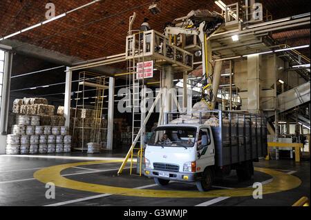 URUGUAY city Trinidad, company Lanas Trinidad  S.A. processing of Merino sheep wool, farmer supply sheep wool from - Stock Photo