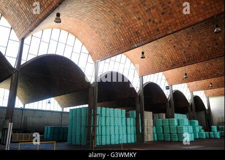 URUGUAY city Trinidad, company Lanas Trinidad  S.A. processing of Merino sheep wool, storage for ready wool bales, - Stock Photo
