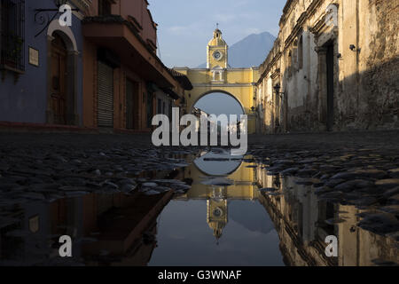 Arch of Santa Catalina, one of the most visited places in the city of Antigua - Stock Photo