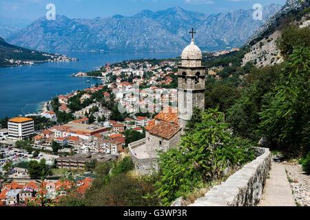 Panoramic view of Kotor and bay, Montenegro - Stock Photo