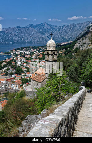 Panoramic view of Kotor and bay, Montenegro - Stock Photo
