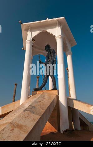 Gandhi Memorial statue Goubert Avenue Beach Road Pondicherry Tamil Nadu India - Stock Photo