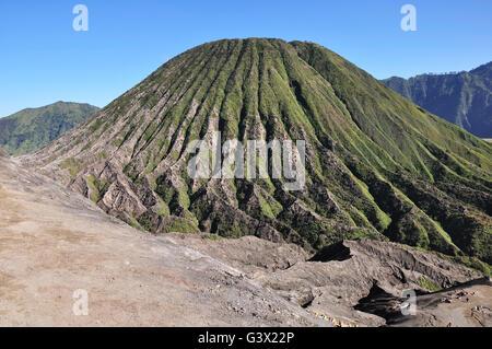View of Mount Batok in Bromo Tengger Semeru national park, East java Indonesia. - Stock Photo