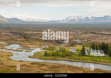 Thingvellir National Park houses Alþingi Icelandic Parliament,established at Þingvellir in 930 and remained there - Stock Photo