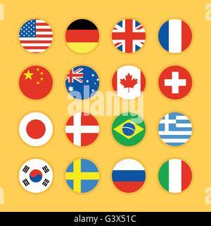 Set of flag icon flat design vector illustration - Stock Photo