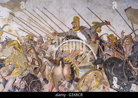 Naples. Italy. Alexander Mosaic, (ca. 120 BC), detail of Darius III king of Persia. Museo Archeologico nazionale - Stock Photo