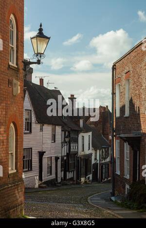 Spring afternoon on Mermaid Street in Rye, East Sussex, England. - Stock Photo