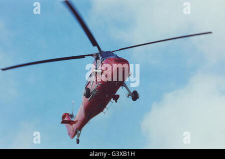 Archive image of Westland Wessex helicopter XV733 of the Queen's Flight making a landing approach, circa 1990, aircraft - Stock Photo
