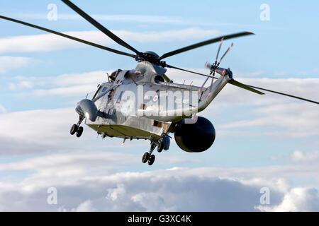 A Royal Navy Westland Sea King ASAC.7 (Airborne Surveillance and Control) XV707 at the Royal Naval Air Station Yeovilton - Stock Photo